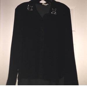 Topshop Button Down Shirt Black