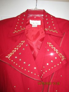Cache Dazzling Red suit with Gold and Rhinestones