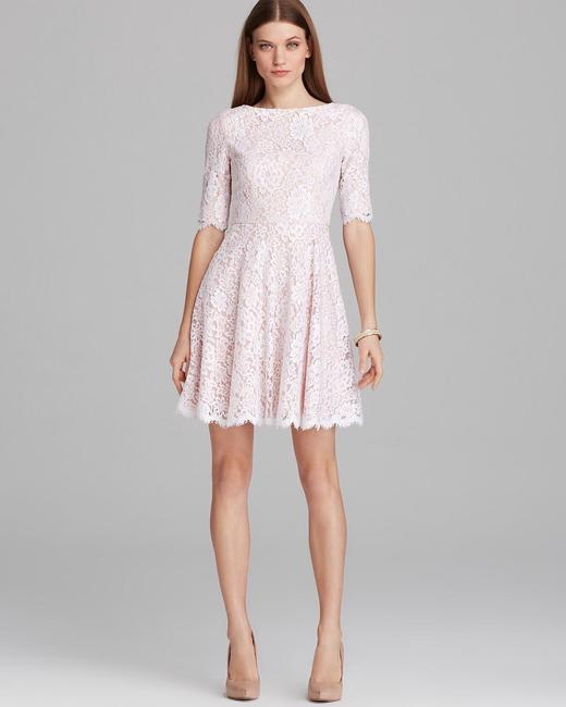 Item - Blush Lace Half Sleeve Bateau Neckline Fit and Flare Casual Wedding Dress Size 0 (XS)