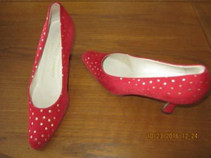 Charles Jourdan Red/golden 3 Inch Heels Very Classy Red Pumps