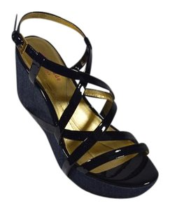 Kate Spade Wedge Patent Leather Denim Denim/Black Platforms