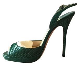 Jimmy Choo Snakeskin Stiletto Green Sandals
