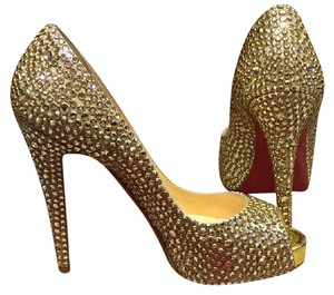 Christian Louboutin Wedding Formal Louboutin Strass Gold Platforms