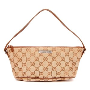 Gucci Canvas Satchel Monogram Wristlet in Brown and Beige