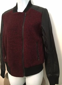 Isabel Lu Faux Leather Bomber Varsity Leather Burgundy / Black Leather Jacket