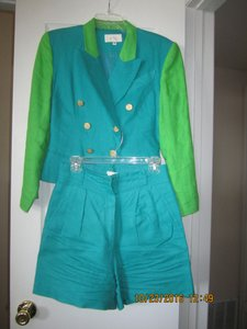 Cache Beautiful Turquoise/Green Linen Suit by Cache