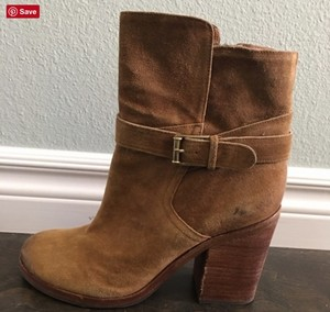 Sam Edelman Chunky Heel Suede Brown Boots