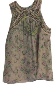Anthropologie Top Taupe with citron, kelly green and pink