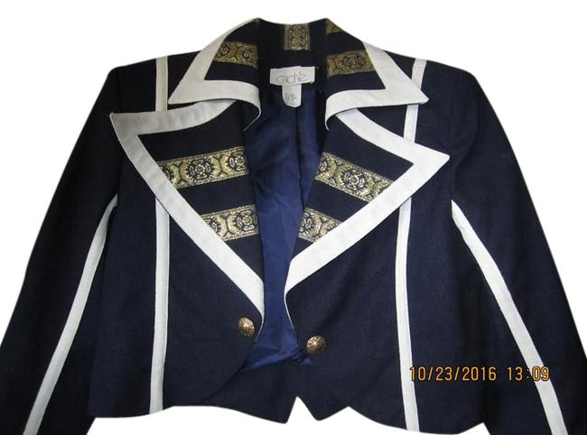 Item - Blue with White and Gold Blue/White/Gold Linen Shorts Suit Size 10 (M)