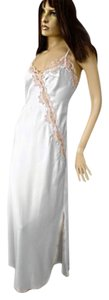 Miss Elaine VTG SHINY WHITE SATIN BEIGE LACE FLORAL LONG NIGHTGOWN THIN STRAP -S