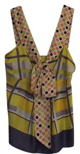 Anthropologie Top Multi-color: yellow, gray, white, orange, and brown