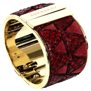 Burberry BURBERRY SPRING HILL HARD HINGE GOLD CUFF RED PYTHON HALLMARKED $685