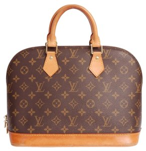 Louis Vuitton Alma Monogram Canvas Leather Satchel in Brown