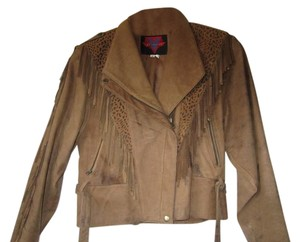 Verducci Leather Fringed Brown Leather Jacket