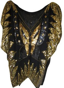 Paillettes Butterfly Top Black/Gold
