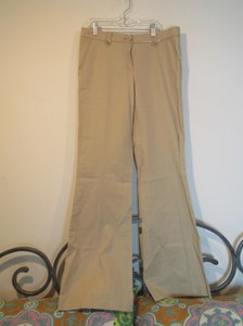 Tory Burch Pockets Trouser Pants Tan with Patent Leather Trim