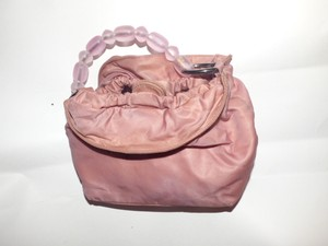 Dior Excellent Vintage Dressy Or Casual Pouch Style Hard Comes With Cards Satchel in mauve pink fabric and leather accents and frosted pink beaded strap