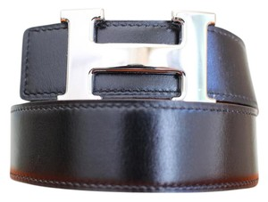 Herms 32MM/78CM Auth. Hermes Constance Belt Kit Silver Buckle