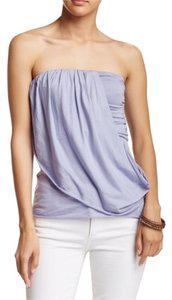 Free People Cotton Elastic Draped Raw Edge Ruched Lavender Halter Top