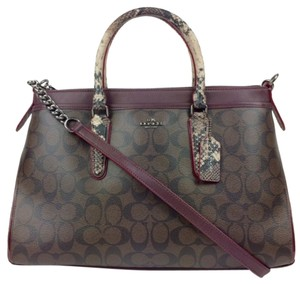 Coach Signature Leather Oxblood Burgundy Satchel in brown/oxblood