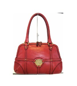 Gucci Medium Size Britt Reins Style Satchel in dark red leather