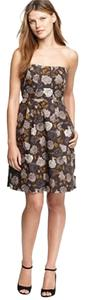 J.Crew short dress Grey Floral Strapless on Tradesy