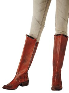 Free People Striking Two-tone Leather Cognac Distressed Boots