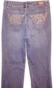Bandolino Bejeweled Gems Straight Leg Jeans-Medium Wash
