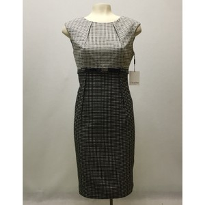 Calvin Klein Black And White Grid Pattern Belted Sheath Dress