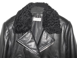 Balenciaga Biker Moto Sherpa Sheepskin Collar Leather Motorcycle Jacket