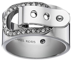 Michael Kors MKJ4639 Michael Kors Crystal Pave Buckle Ring Silver Tone Size 6