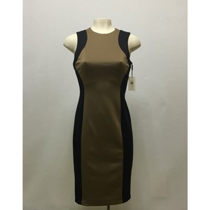 Calvin Klein Color-blocking Office Sheath Taupe Dress