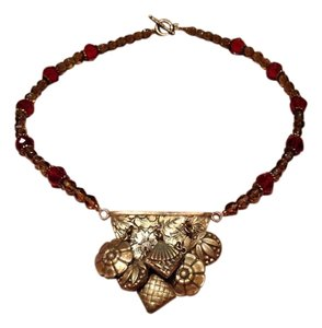 Marilyn Rae Cohen Brown and red Crystal w Brass Necklace# 18