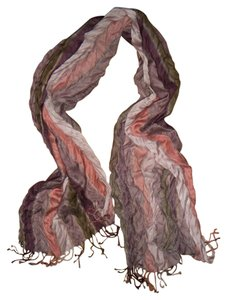 Unknown Pink Purple Beige Striped Wrinkled Scarf
