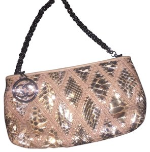 Chanel Python Exotic Skin Exotic Leather Evening Gold Clutch