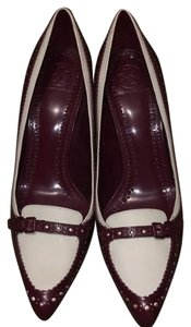 Tory Burch Maroon and white Pumps