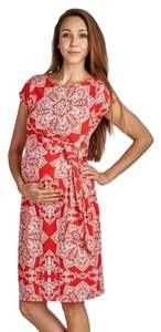hello miz NWOT Cap Sleeve Floral Print Belted Maternity Midi Dress