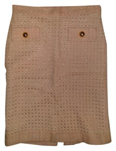MILLY Holiday Gold Hardware Knit Classic Skirt pink