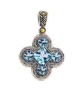 John Hardy John Hardy diamond blue topaz cross pendant 18k yellow gold & silver