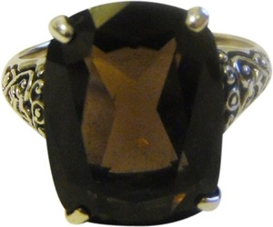 Artisan Crafted Scroll Design .925 Sterling Silver Smokey Quartz Ring Size 8