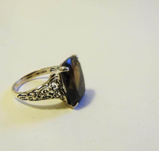 Other Artisan Crafted Scroll Design .925 Sterling Silver Smokey Quartz Ring Size 8