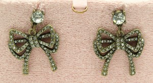 Juicy Couture NEW Juicy Couture Brass Clear Rhinestone Bow Dangle Earrings