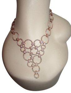 Rose Gold Plated Sterling Silver Pave Swarovski Crystal Necklace 68gr