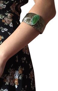 Vintage Green Stone Brass Winged Cuff