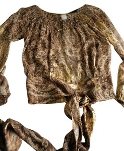 BCBGMAXAZRIA Top Gold and Brown