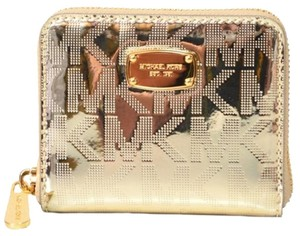 Michael Kors NEW MICHAEL KORS signature Logo Metallic Patent Leather wallet Gold