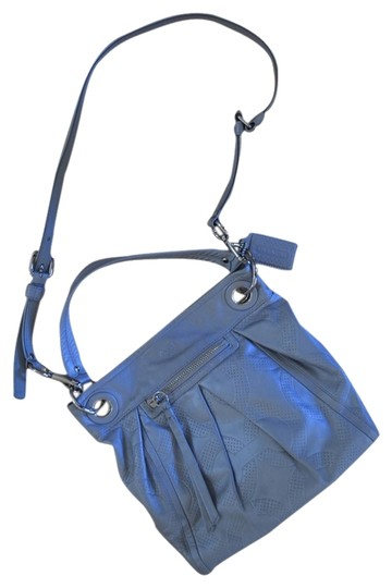 Coach Metallic Silver Hardware Handbags Blue Silver Satchel Limited Edition Straps Leather Cross Body Bag