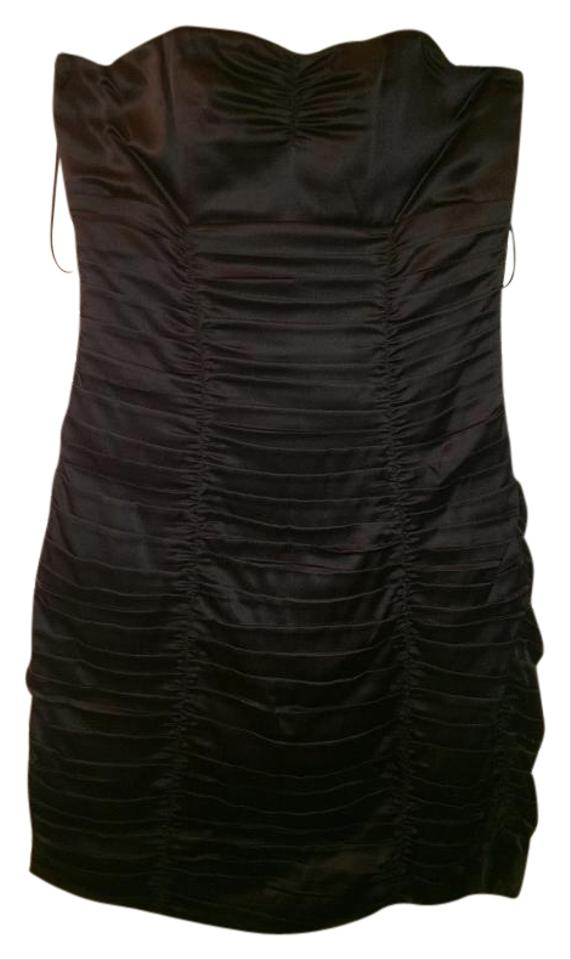 Strapless Ruched Black Mini Dress