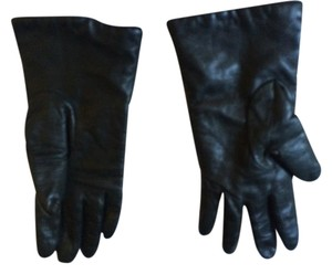 Neiman Marcus Neiman Marcus Dark GreenLeather Cashmere lined gloves size 6.5 small