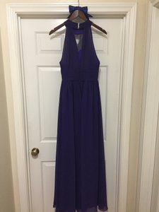 Purple A-line/princess Scoop Neck Floor-length Chiffon Bridesmaid Dress With Ruffle Dress